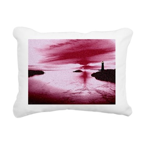 Lighthouse Sunset Rectangular Canvas Pillow