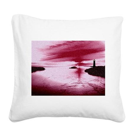 Lighthouse Sunset Square Canvas Pillow