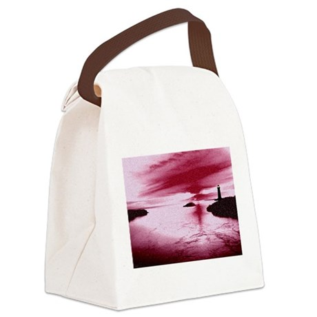 Lighthouse Sunset Canvas Lunch Bag