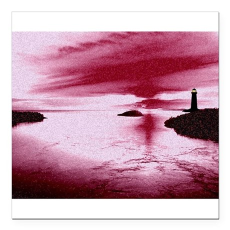 "Lighthouse Sunset Square Car Magnet 3"" x 3"""