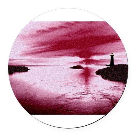 Lighthouse Sunset Round Car Magnet