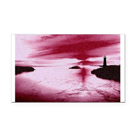 Lighthouse Sunset Rectangle Car Magnet
