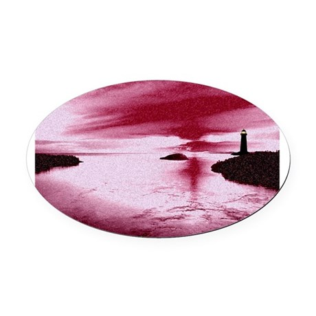 Lighthouse Sunset Oval Car Magnet