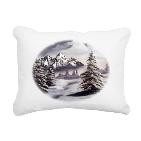 Snow Mountain Oval Rectangular Canvas Pillow