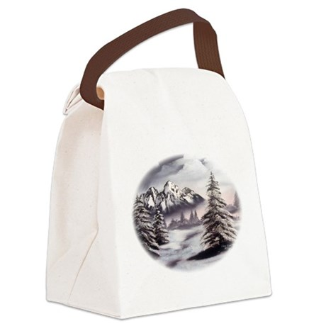 Snow Mountain Oval Canvas Lunch Bag