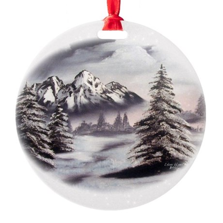 Snow Mountain Oval Round Ornament