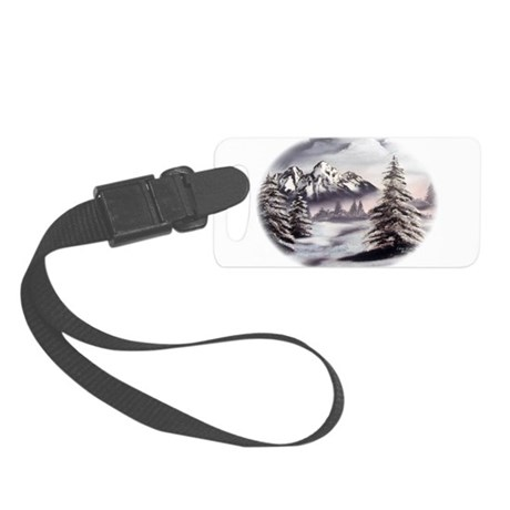 Snow Mountain Oval Small Luggage Tag