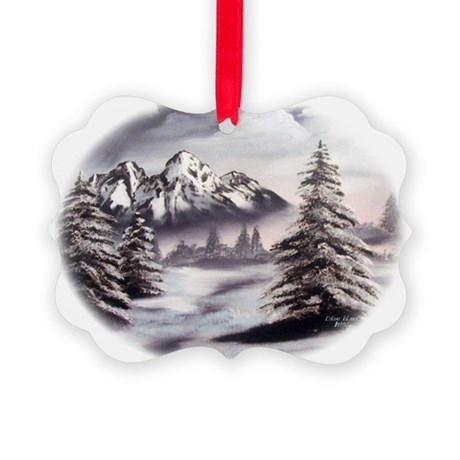 Snow Mountain Oval Picture Ornament