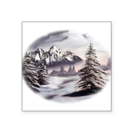 "Snow Mountain Oval Square Sticker 3"" x 3"""