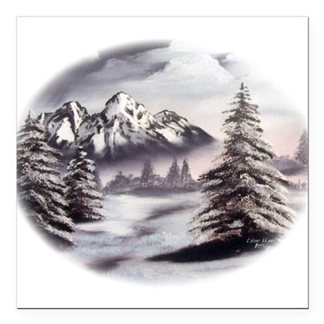 "Snow Mountain Oval Square Car Magnet 3"" x 3"""