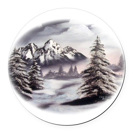 Snow Mountain Oval Round Car Magnet