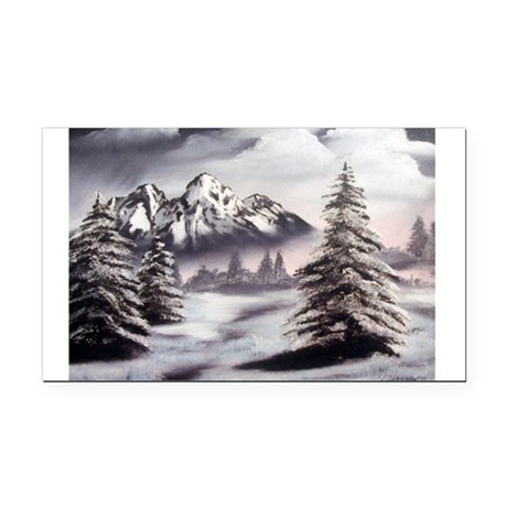 Snow Mountain Oval Rectangle Car Magnet