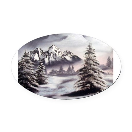 Snow Mountain Oval Oval Car Magnet