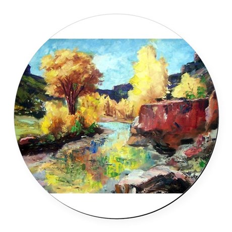 Autumn Canyon Round Car Magnet
