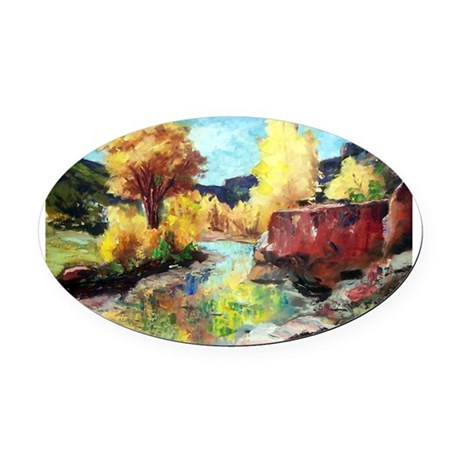 Autumn Canyon Oval Car Magnet