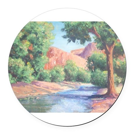 Summer Canyon Round Car Magnet