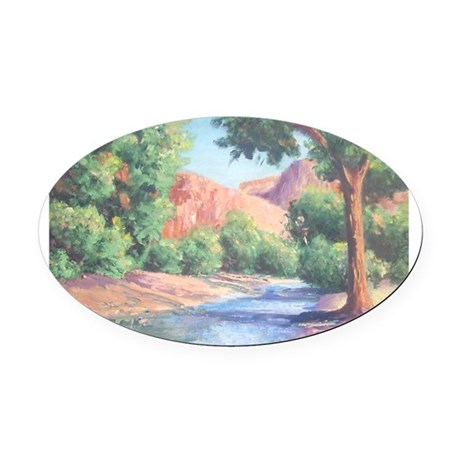 Summer Canyon Oval Car Magnet