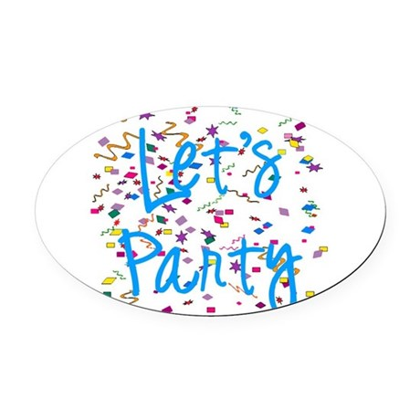 party.png Oval Car Magnet