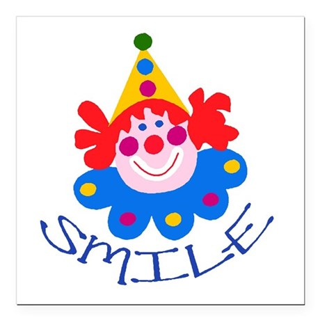 "clown Square Car Magnet 3"" x 3"""
