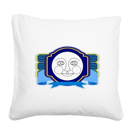 moon face Square Canvas Pillow