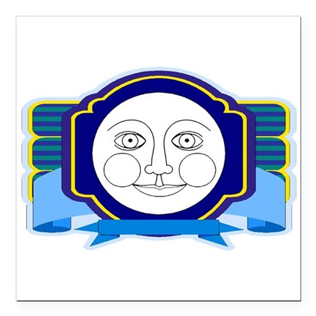 moon face Square Car Magnet 3&quot; x 3&quot;