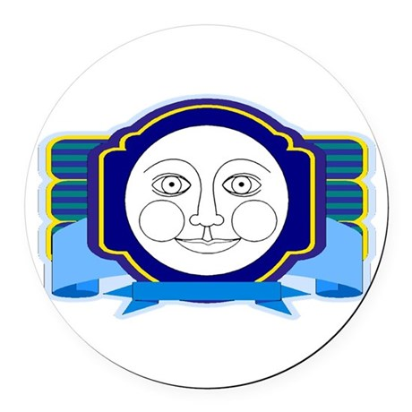 moon face Round Car Magnet