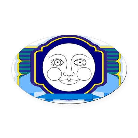 moon face Oval Car Magnet