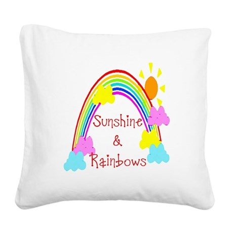 rainbow sunshine Square Canvas Pillow