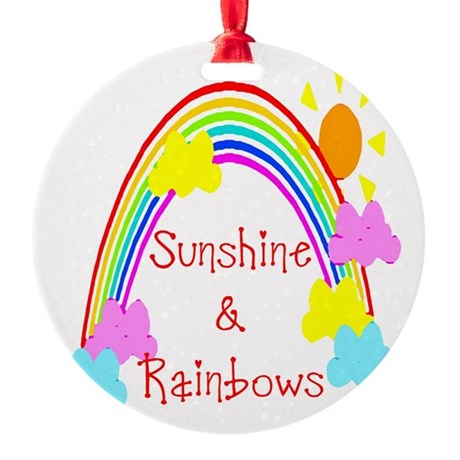 rainbow sunshine Round Ornament
