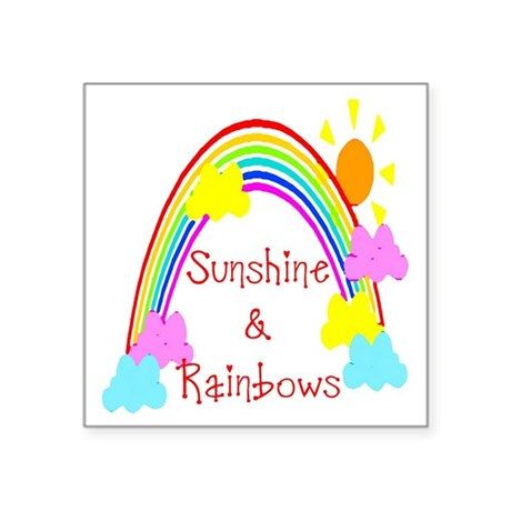 "rainbow sunshine Square Sticker 3"" x 3"""