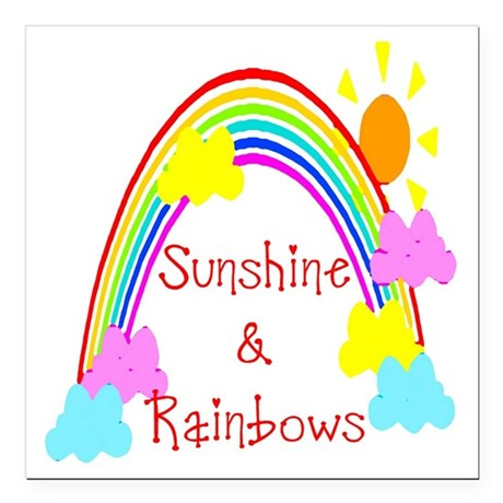 "rainbow sunshine Square Car Magnet 3"" x 3"""