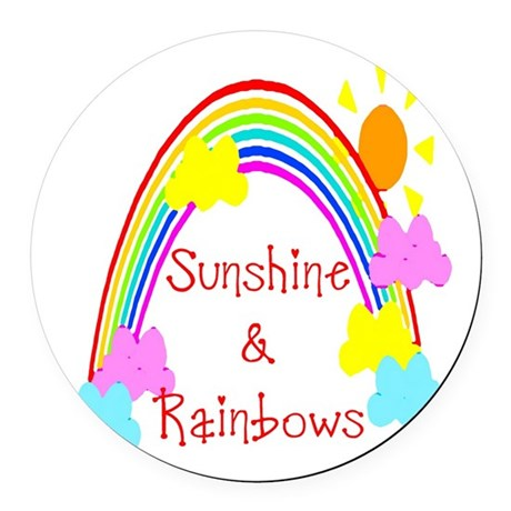 rainbow sunshine Round Car Magnet