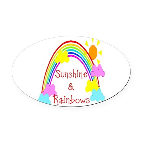 rainbow sunshine Oval Car Magnet