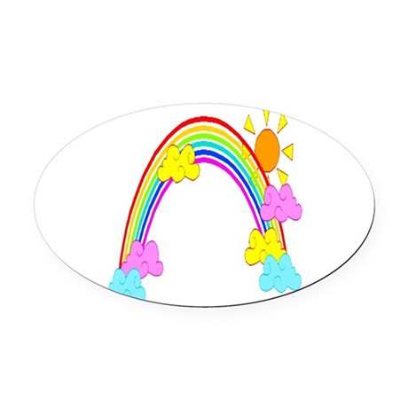 rainbow Oval Car Magnet