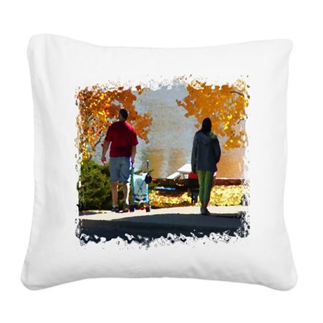 Autumn Stroll Square Canvas Pillow
