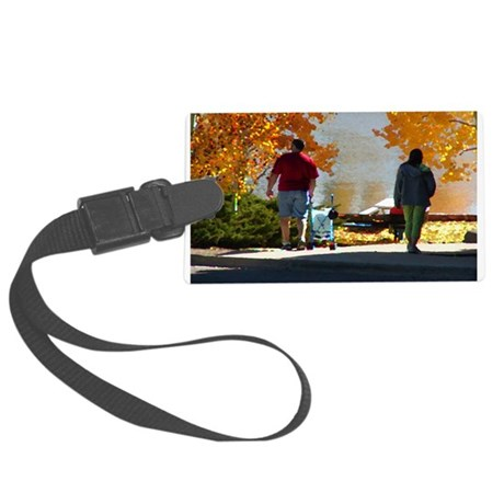 Autumn Stroll Large Luggage Tag