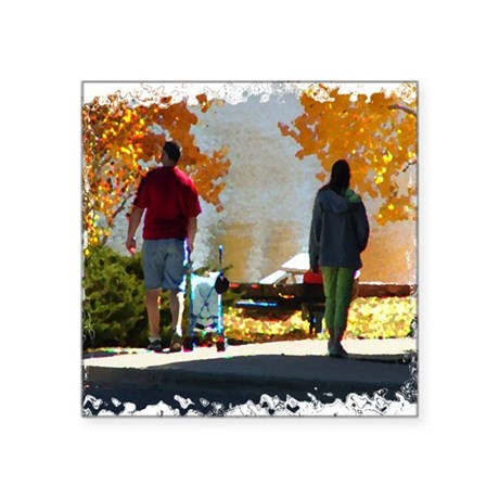 "Autumn Stroll Square Sticker 3"" x 3"""