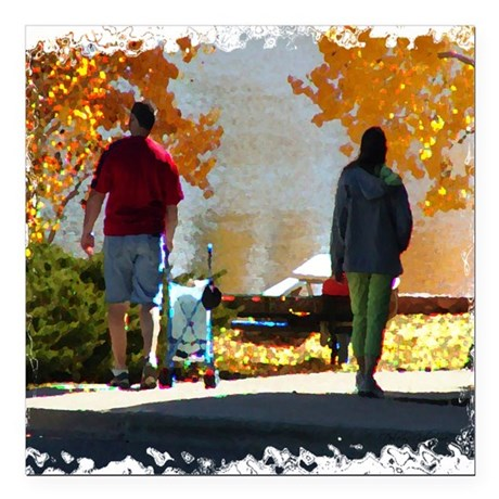 "Autumn Stroll Square Car Magnet 3"" x 3"""