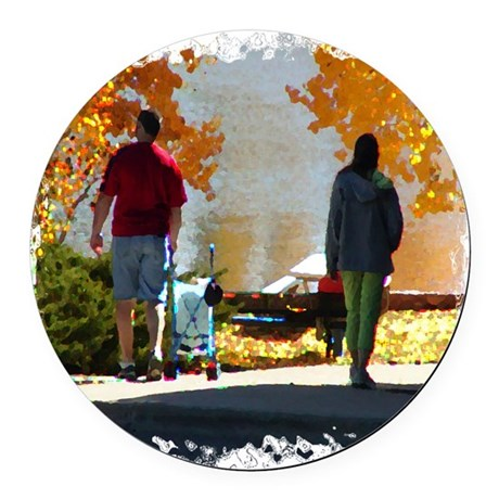 Autumn Stroll Round Car Magnet