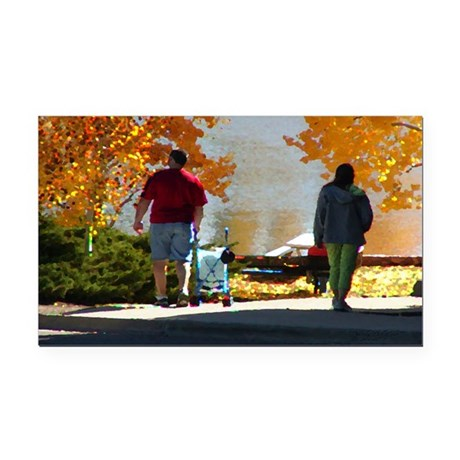 Autumn Stroll Rectangle Car Magnet