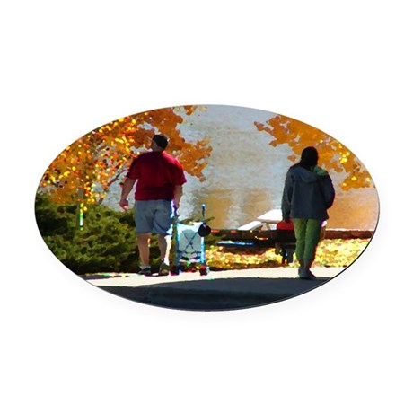 Autumn Stroll Oval Car Magnet