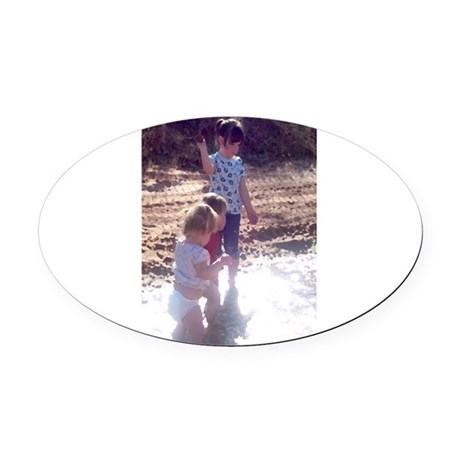 River Fun Oval Car Magnet