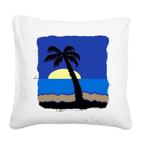 palm Square Canvas Pillow