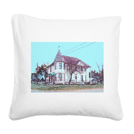 Old Corner House Square Canvas Pillow