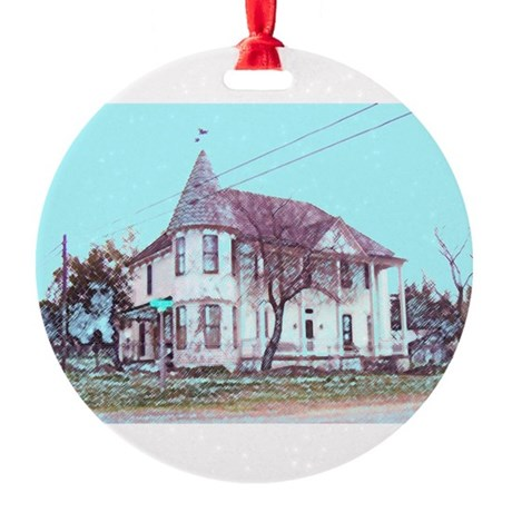 Old Corner House Round Ornament