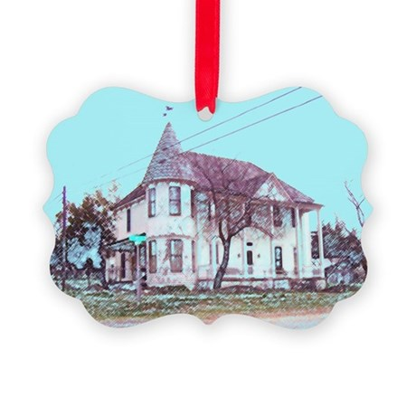 Old Corner House Picture Ornament