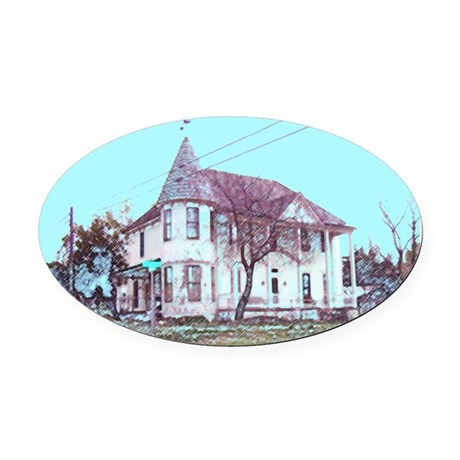Old Corner House Oval Car Magnet