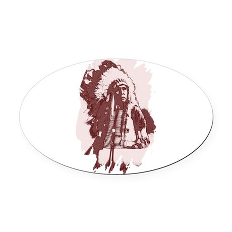 indian1dsq.jpg Oval Car Magnet