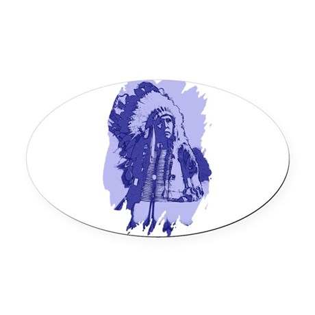indian1bsq.png Oval Car Magnet