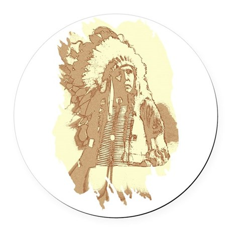 indian1.png Round Car Magnet